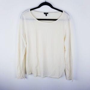 Talbots pure merino wool cream long sleeve sweater